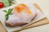 pic of breast  - Raw chicken breast with spices ready for cooking - JPG