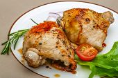image of thighs  - Roasted chicken thighs with herbs and spices - JPG
