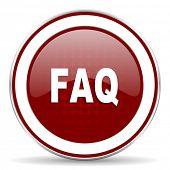 pic of faq  - faq red glossy web icon - JPG