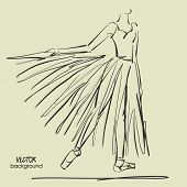 foto of tutu  - art sketched beautiful young ballerina with long tutu in a static position of bow - JPG