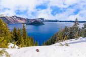 picture of klamath  - Crater Lake on a Bright Beautiful Day - JPG