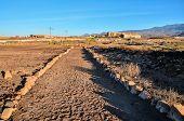 stock photo of dirt road  - Dirt Road through the Desert in Tenerife Island Spain - JPG