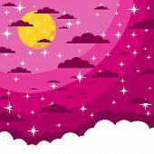 picture of moon stars  - Night beautiful moonlit sky  - JPG