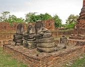 picture of piety  - Old Buddha ancient  at temple Ayutthaya - JPG