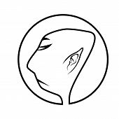 stock photo of buddhist  - black and white illustration of profile of buddhist monk - JPG