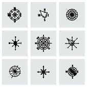 picture of wind-rose  - Vector Wind rose icon set on grey background - JPG