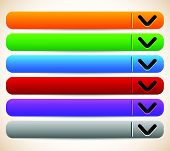 picture of oblong  - empty blank oblong long horizontal buttons banners with arrows - JPG