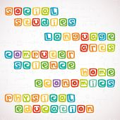 picture of math  - Names of different lessons written in funny colorful square letters - JPG