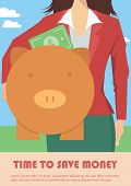 picture of piggy  - Businesswoman holding piggy bank - JPG
