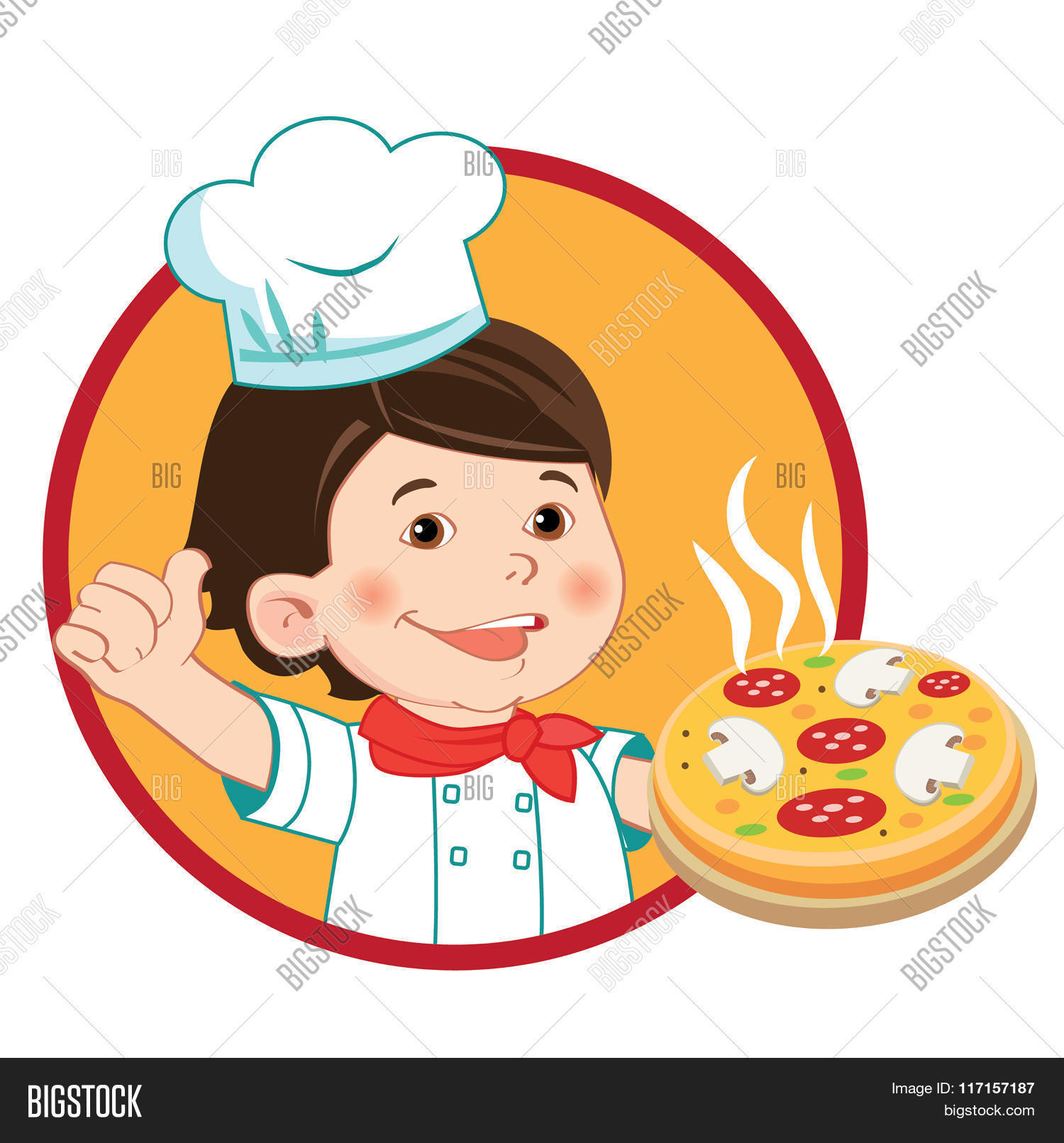 Selection of cartoons on cooking kitchens food and eating - Small Cook With Pizza Vector Illustration Isolated On A White Background Vector Character