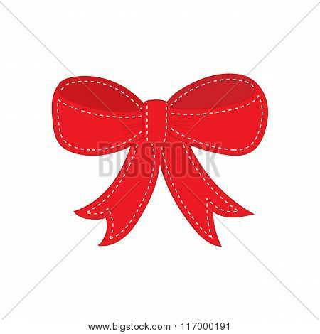Hand drawn sketch of red festive bow.