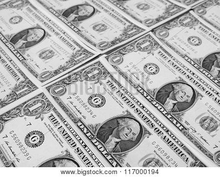 Black And White Dollar Notes 1 Dollar