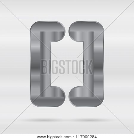 Metallic alphabet. Set of stainless 3d letters.