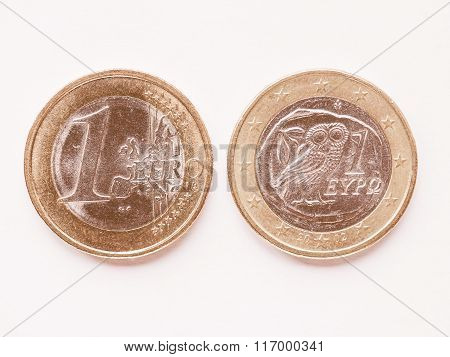 Greek 1 Euro Coin Vintage