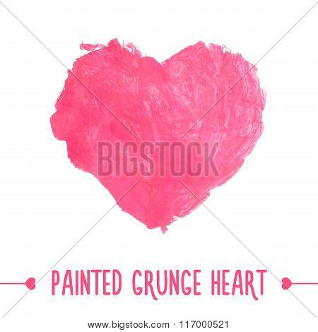 Painted hand drawn grunge heart.