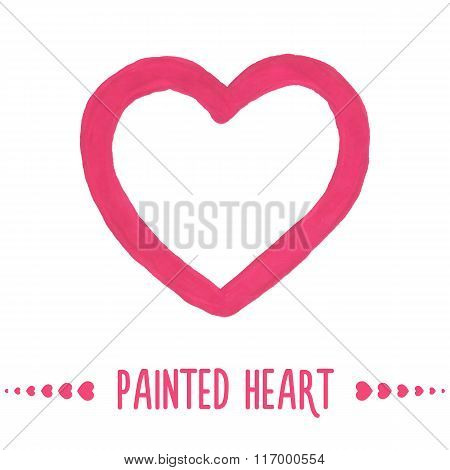 Painted hand drawn outlined heart.