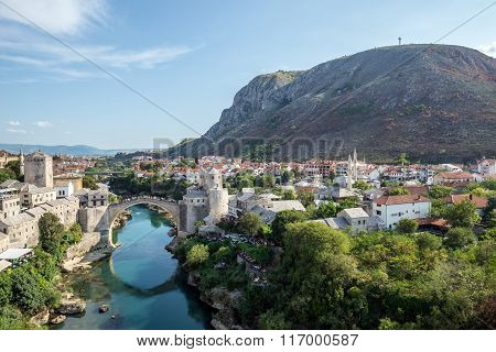 Aerial view on Mostar city with Old Bridge Bosnia and Herzegovina