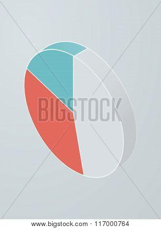 Isometric pie chart icon.