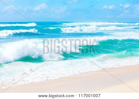 Beautiful Blue And Green Ocean Waters And Waves Of Hawaii