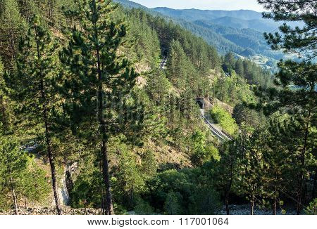 View from Sargan Eight narrow gauge railway from the village of Mokra Gora to Sargan Vitasi station in Serbia