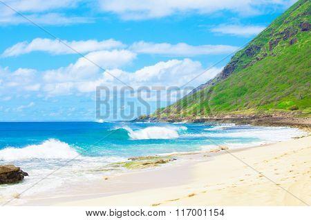 Beautiful Landscape Of The  Hawaiian Coastline, Waves Crashing On Beach