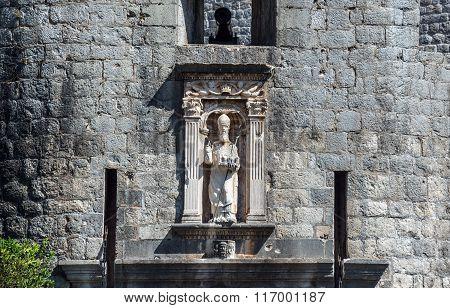 Saint Blaise figure over Pile Gate in Dubrovnik Croatia