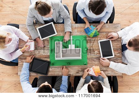 close up of business team with project layout