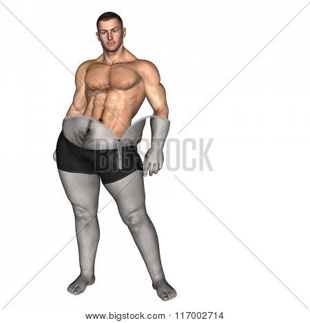 Concept or conceptual 3D fat overweight vs slim fit diet with muscles zipper young man isolated on white background