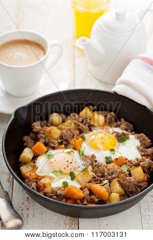 Potato hash with eggs