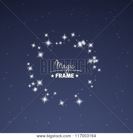 Magic frame for your text from shiny stars.