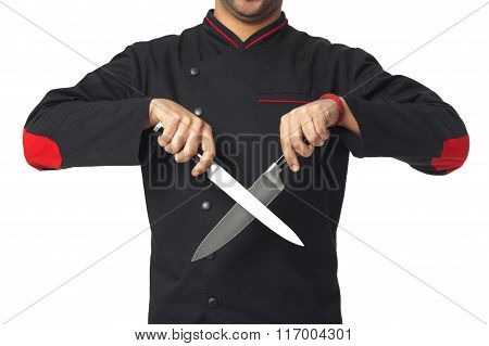 Afro American Professional Cook Holding Knifes - Isolated.