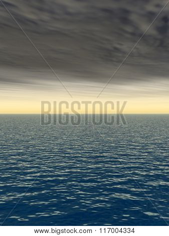 Concept or conceptual sea or ocean water waves and sky cloudscape exotic or paradise background