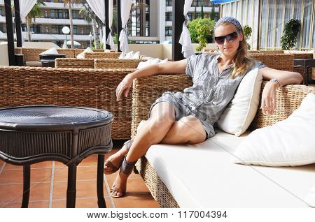 Young woman in a trendy lounge