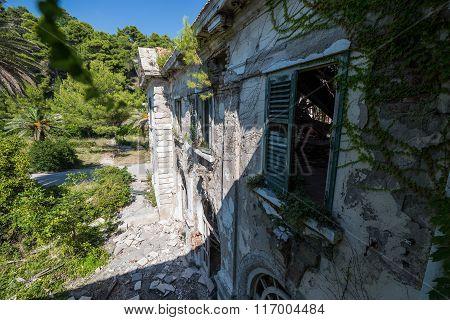 Abandoned hotel in former Tourist Complex of Kupari village Croatia