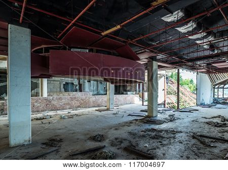 lobby of abandoned hotel in former Tourist Complex of Kupari village Croatia