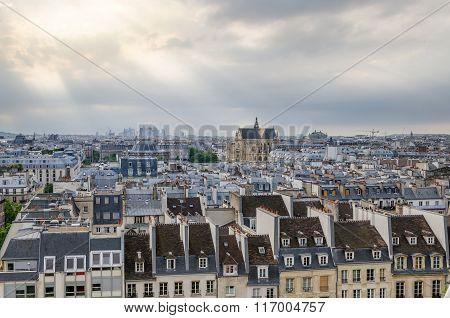 Saint-germain L'auxerrois Church Among Roofs Of Paris