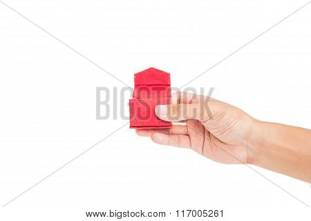 Hand holding opened red gift box, isolated on white background