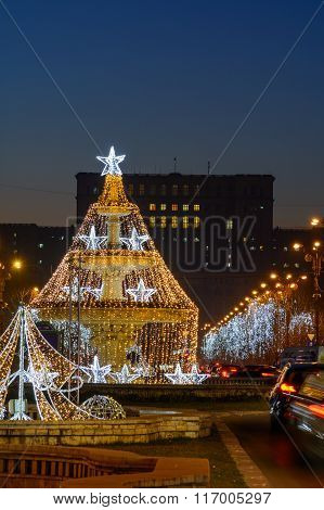 Bucharest, Romania - January 2: Piata Unirii, Palace Of Parliament On January 2, 2016 In Bucharest,