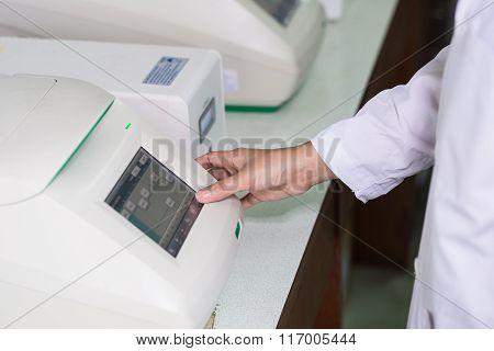 Technician hand entering data