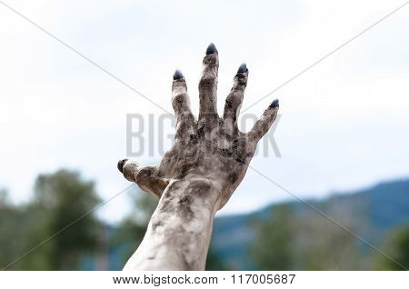 Horror And Halloween Theme: Terrible Zombie Hands Dirty With Black Nails Reach For The Sky, Walking