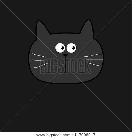 Cute Grey Contour Cat Head. Flat Design. Black Background.