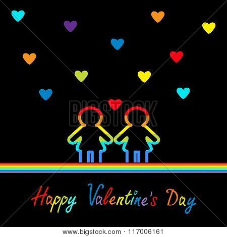 Happy Valentines Day. Love Card. Gay Marriage Pride Symbol Two Contour Rainbow Line Woman Lgbt Icon.