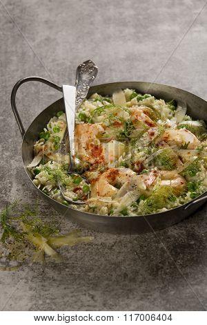 Creamy prawn and pea stew