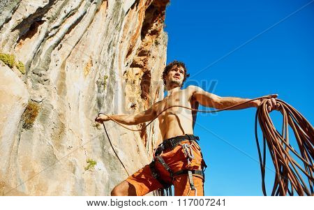 climber with the rope