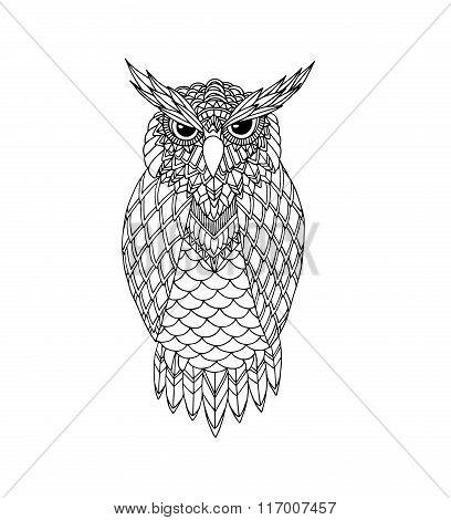 Owl Vector Handdrawn Illustration In Zentangle Style