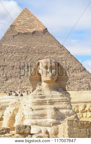 Sphinx and Giza Pyramids in Cairo, Egypt