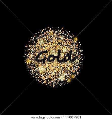 Gold sand glittering circle