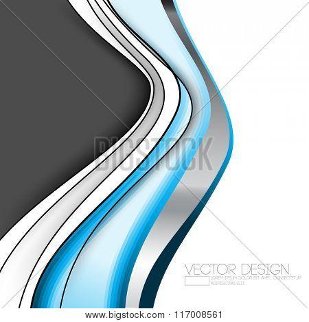 metallic effect bent flowing line art design