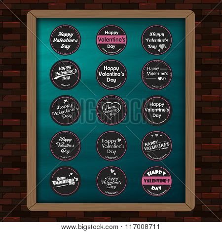 Happy valentine day with Mega elements Set of stickers,labels, heart,badge template on chalkboard