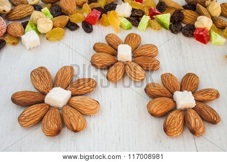 Raw nuts and dried fruits.